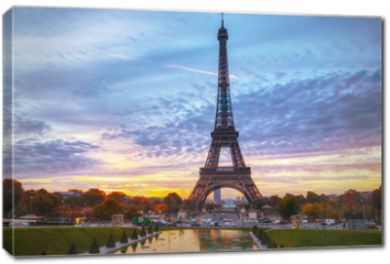 Obraz na płótnie canvas - Cityscape with the Eiffel tower in Paris, France