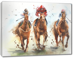 Obraz na płótnie canvas - Horse racing race riding sport jockeys competition horses running watercolor painting illustration
