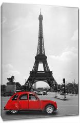 Obraz na płótnie canvas - Eiffelturm in Paris mit roter Ente - Tour Eiffel Eiffeltower