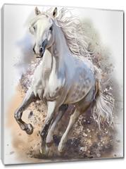 Obraz na płótnie canvas - White horse runs watercolor painting