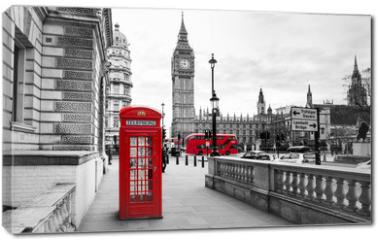 Obraz na płótnie canvas - London Telephone Booth and Big Ben