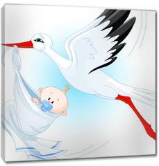 Obraz na płótnie canvas - Stork delivering a newborn baby boy