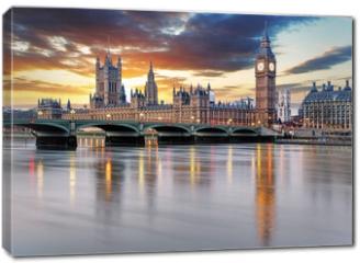 Obraz na płótnie canvas - London - Big ben and houses of parliament, UK
