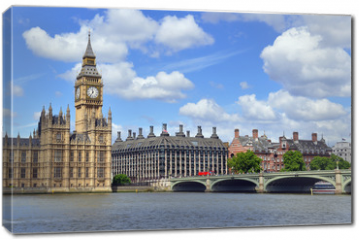 Obraz na płótnie canvas - Big Ben clock tower, also known as Elizabeth Tower is near Westminster Palace and Houses of Parliament on the Thames River in London has become a symbol of England and Brexit discussions