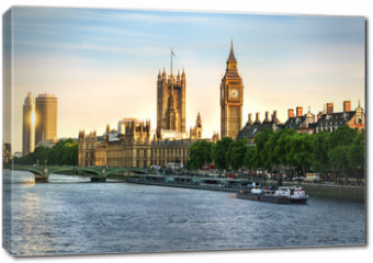 Obraz na płótnie canvas - Big Ben and Westminster parliament in London, United Kingdom with sun reflection