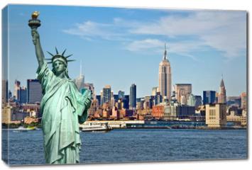 Obraz na płótnie canvas - New York skyline and the Statue of Liberty, New York City collage, travel and tourism postcard concept, USA