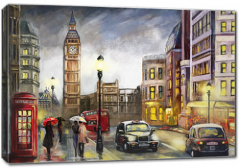 Obraz na płótnie canvas - oil painting on canvas, street view of london. Artwork. Big ben. couple and red umbrella, bus and road, telephone. Black car - taxi. England