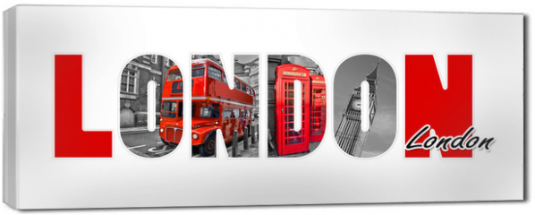 Obraz na płótnie canvas - London letters, isolated on white background, travel and tourism in UK concept