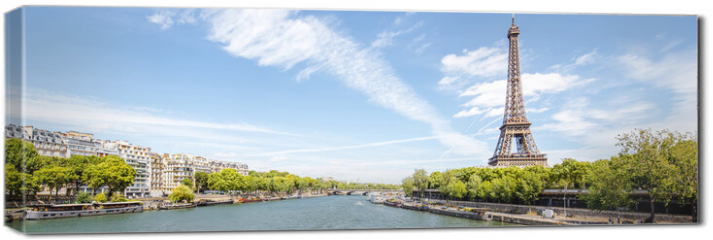 Obraz na płótnie canvas - Landscape panoramic view on the Eiffel tower and Seine river during the sunny day in Paris