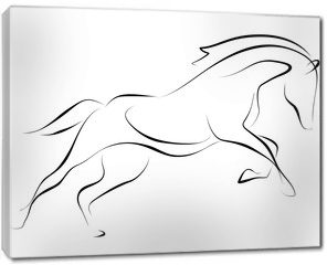 Obraz na płótnie canvas - Running black line horse on white background. Vector graphic.