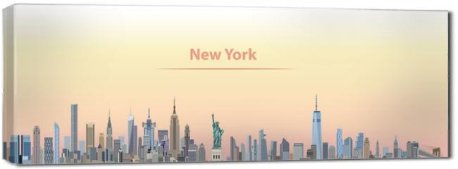 Obraz na płótnie canvas - vector illustration of New York city skyline at sunrise