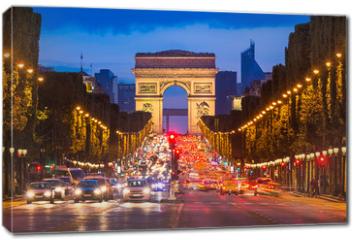 Obraz na płótnie canvas - Champs Elysees and Arc de Triomphe, Paris