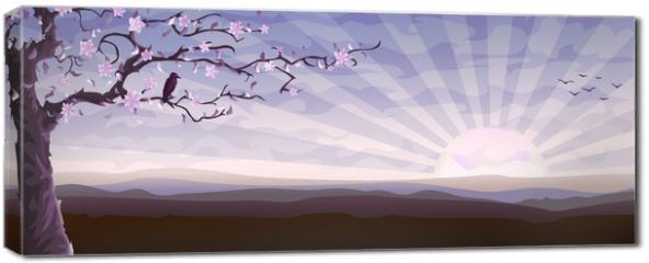 Obraz na płótnie canvas - Blooming tree and a starling