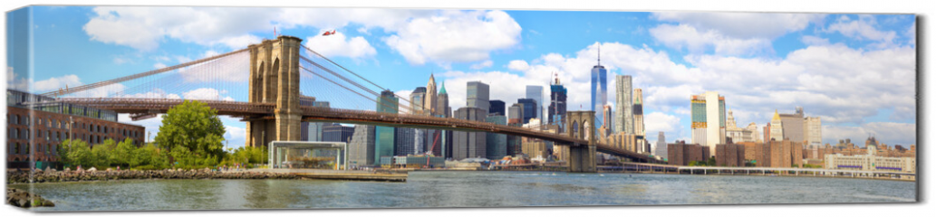 Obraz na płótnie canvas - New York City Brooklyn Bridge panorama with Manhattan skyline