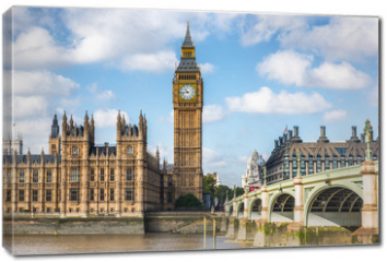 Obraz na płótnie canvas - London city travel holiday background. Big Ben and Houses of parliament with Westminster bridge in London, England, Great Britain, UK.