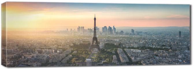 Obraz na płótnie canvas - Paris Skyline Panorama bei Sonnenuntergang mit Eiffelturm