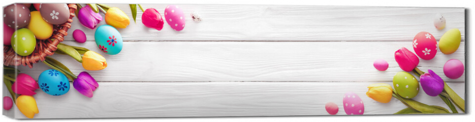 Obraz na płótnie canvas - Easter Eggs with Flowers on White Wooden Background