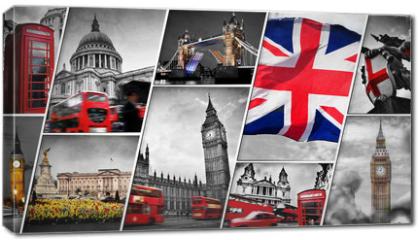 Obraz na płótnie canvas - Collage of the symbols of London, the UK