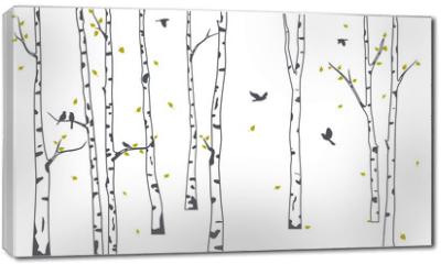 Obraz na płótnie canvas - Birch Tree with deer and birds Silhouette Background