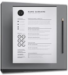 Obraz na płótnie canvas - Elegant CV / resume template minimalist black and white vector