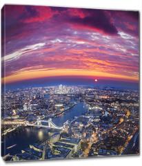 Obraz na płótnie canvas - London city sunset, mystic aerial view