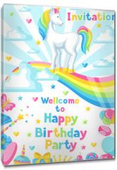 Obraz na płótnie canvas - Happy birthday party invitation with unicorn and fantasy items