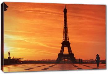 Obraz na płótnie canvas - Sunrise over Eiffel tower and tourist on Trocadero plaza