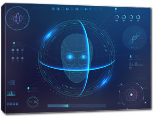 Obraz na płótnie canvas - Biometrics digital face scanning, facial recognition software with hud interface, charts, diagram and dna detection data