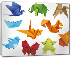 Obraz na płótnie canvas - Origami. A set of origami. Set origami butterfly, crane, frog, elephant, horse, ship, sparrow, fox, squirrel. Paper set origami. Vector illustration Eps10 file