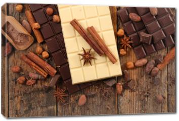 Obraz na płótnie canvas - chocolate bar, coffee bean and spice