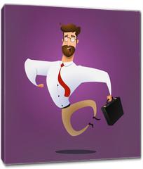 Obraz na płótnie canvas - Illustration of happy jumping businessman