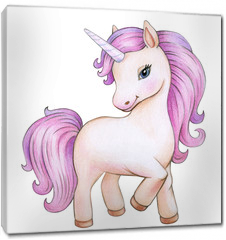 Obraz na płótnie canvas -  Cute unicorn cartoon, isolated on white.