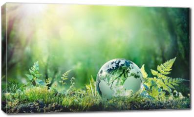Obraz na płótnie canvas - Globe On Moss In Forest - Environmental Concept
