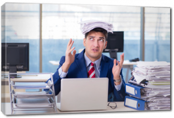 Obraz na płótnie canvas - Businessman workaholic struggling with pile of paperwork