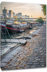 Obraz na płótnie canvas - Houseboats on a paved bank of the river Seine, Paris France