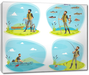 Obraz na płótnie canvas - Fishing sport icon of fisherman with fish