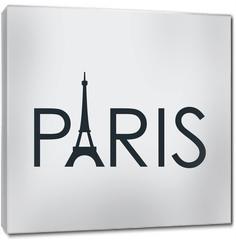 Obraz na płótnie canvas - Tipografia PARIS con torre Eiffel en fondo gris
