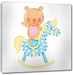 Obraz na płótnie canvas - bear teddy ride rocking horse