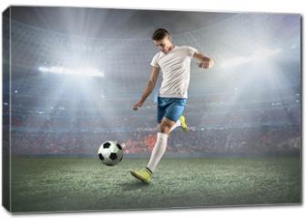 Obraz na płótnie canvas - Soccer player on a football field in dynamic action at summer da