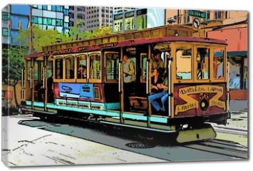 Obraz na płótnie canvas - comic image of cable car in san francisco