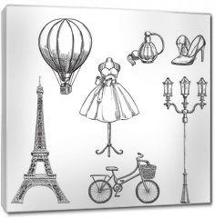 Obraz na płótnie canvas - Travel to France hand drawn isolated design elements. Paris sketch vector illustration