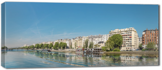 Obraz na płótnie canvas - Panoramic image of Paris modern architecture in Paris with and Seine river