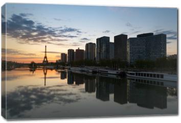 Obraz na płótnie canvas - Paris skyline with Eiffel tower and Seine river in Paris, France.