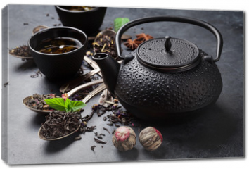 Obraz na płótnie canvas - Various tea in spoons and teapot
