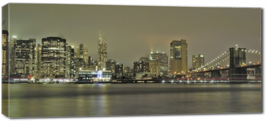 Obraz na płótnie canvas - Manhattan e ponte di Brooklin di sera