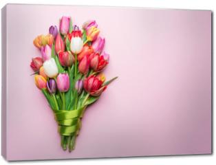 Obraz na płótnie canvas - Colorful bouquet of tulips on white background.