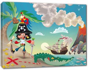 Obraz na płótnie canvas - Pirate on the isle. Funny cartoon and vector scene.