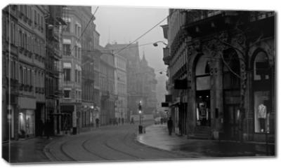 Obraz na płótnie canvas - old town on misty morning