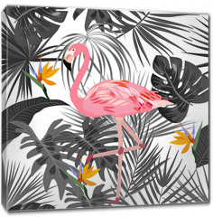 Obraz na płótnie canvas - Tropical vector seamless pattern with flamingo.