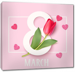 Obraz na płótnie canvas - Womens Day 8 March design template. Decorative number eight with eed tulips. Vector illustration